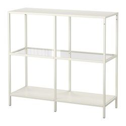 VITTSJÖ Shelving unit - white/glass - IKEA... paired with a narrow (tall or short) mulig or vittsjo next to the door