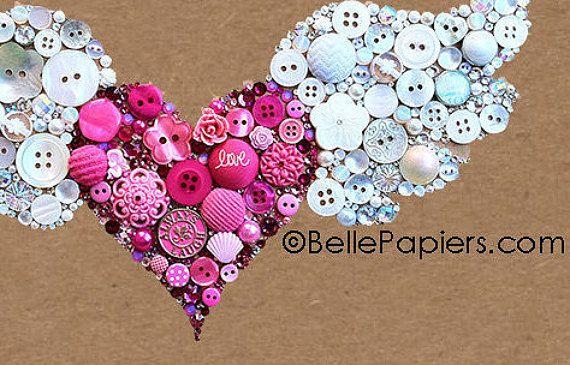 Button Art Winged Heart Flying Heart Buttons & by BellePapiers