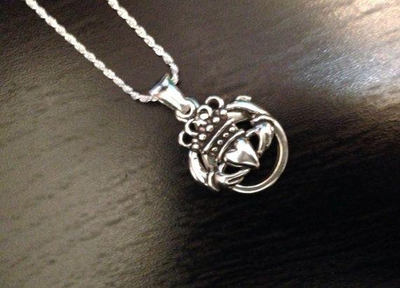 NEW Sterling Silver Claddagh  Wedding Ring & Charm Holder  by AloraLocks,