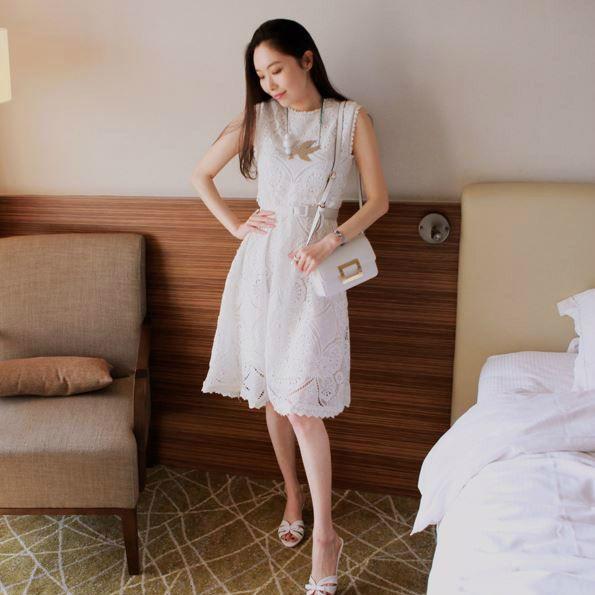 Korea feminine clothing Store [SOIR] angel Race One Piece  / Size : FREE / Price : 58.95USD #korea #fashion #style #fashionshop #soir #dress #onepiece#feminine #special #lovely #luxury #cardigan #white