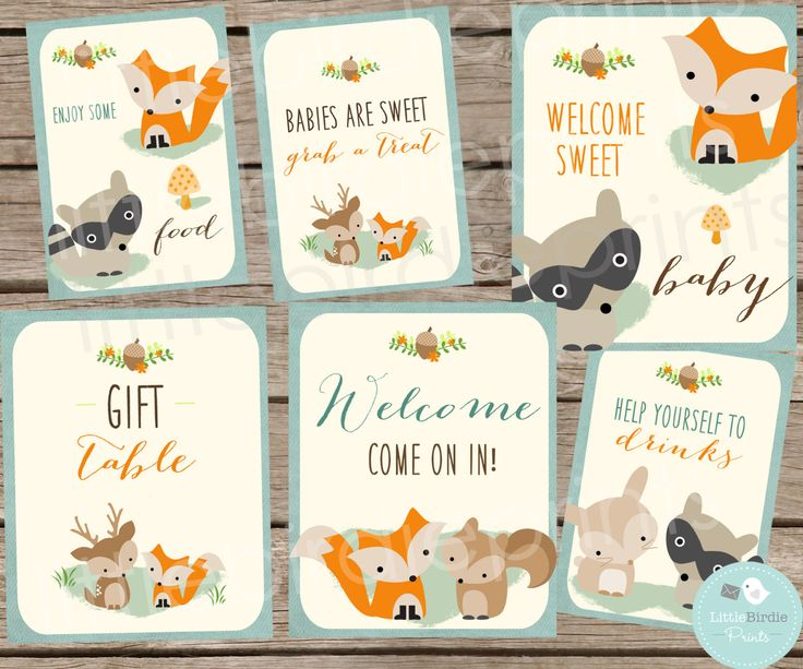 WOODLAND Baby Shower Decorations SIGNS // Woodland Baby Shower Fox Deer Racoon  // Instant Download // Food Drink Welcome Baby Shower Signs by littlebirdieprints on Etsy https://www.etsy.com/listing/217028646/woodland-baby-shower-decorations-signs