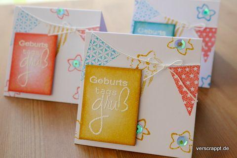 3x3-mini-cards-Minikarten-Geschenkanhänger-Tags-Karten-im-Set-Kartenset-Geburtstag-Geburtstagskarten-Fähnchen-Fahne-Girlande-rot-blau-gelb-weiß-Embossing-Kette-Anhänger-Geschenk-6er-Pack-rund-rechteckig