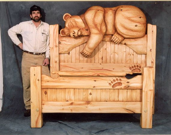 Bed Queen Size Carved Bear Headboard Sweet Dreams