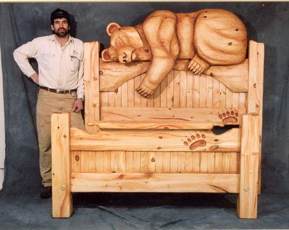 Bed Queen Size Carved Bear Headboard Sweet Dreams