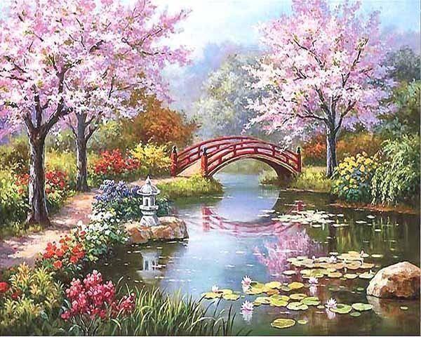 Peinture Au Numero Jardin Japonais Peinture Paysage Belle Image