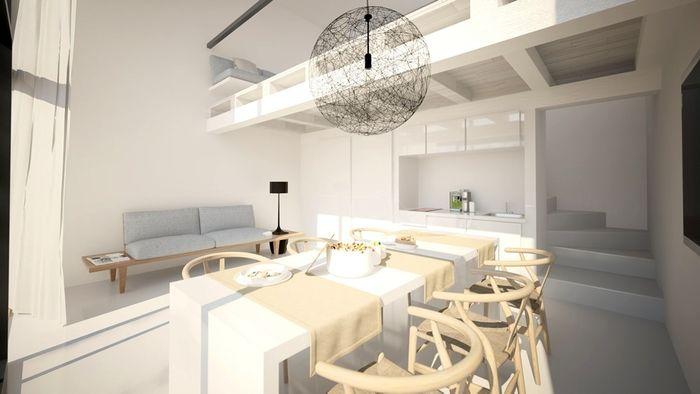 Salón de un piso pequeño con cocina