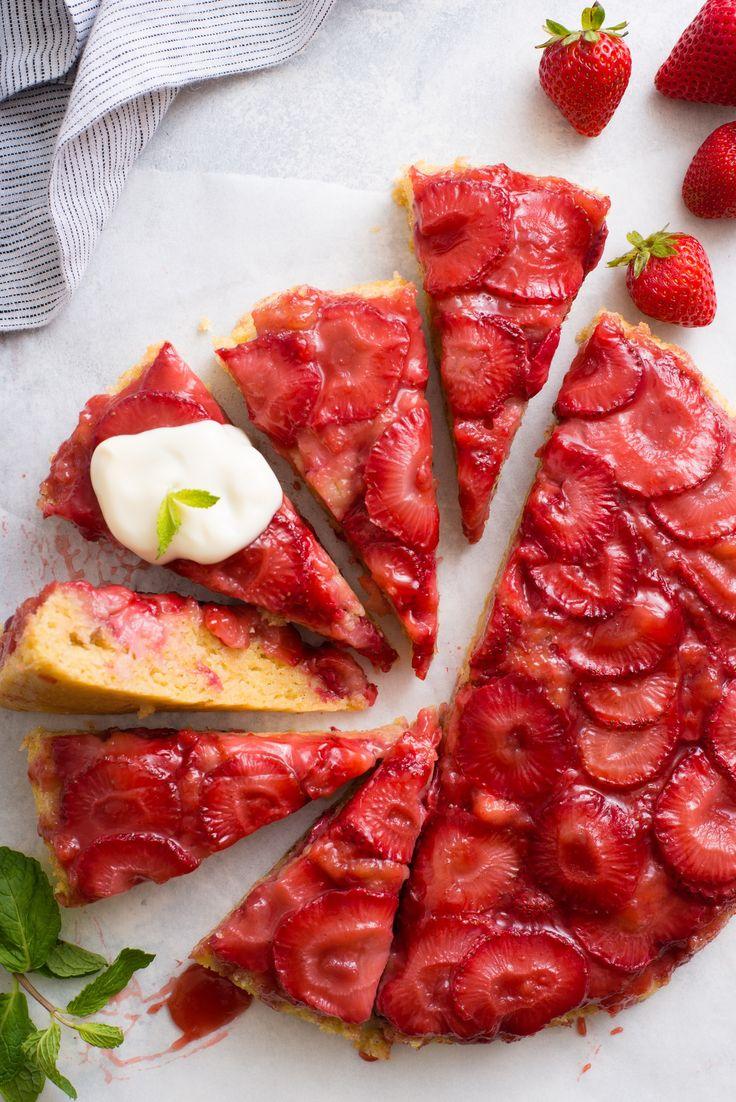Upside down Strawberry Skillet Cake