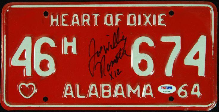 "Joe Namath Signed Alabama License Plate ""Joe Willie Namath"""