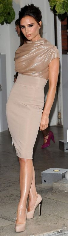 ****Love everything! Would love to remake high wasted pencil skirt in many colors, but love the neutrals... love the blouse as well & really want to recreate this look!**** Absolutely gorgeous!!! Victoria Beckham