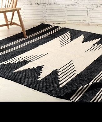 black and white rug dramatic
