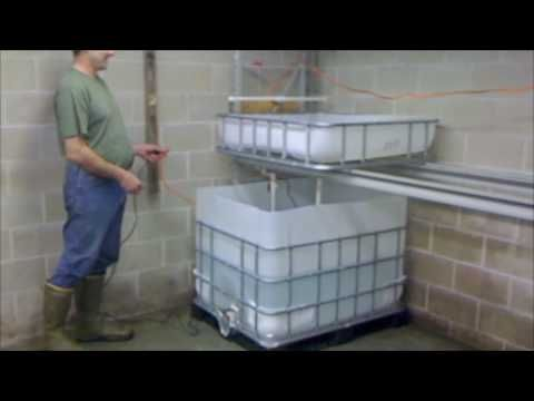 A backyard or DIY aquaponics hydroponics system can be made from a large inducstrial water container, a pump, and some PVC piping. Description from hydroponicshabitat.com. I searched for this on bing.com/images