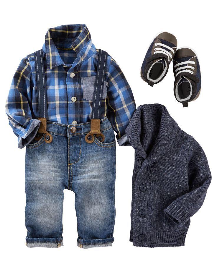 He'll look handsome in OshKosh denim, suspenders and plaid. Top it off with a shawl collar for an authentic little-man look!