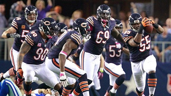 Chicago Bears Defense, Lance Briggs interception return for a TD
