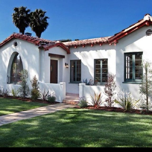 Image Result For Spanish Bungalow Blue Awnings Spanish Bungalow Spanish Style Homes Spanish House