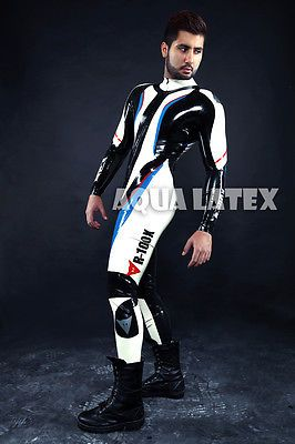 Man's Moto Rubber Catsuit Sexy Natural Latex Cosplay Bodysuit