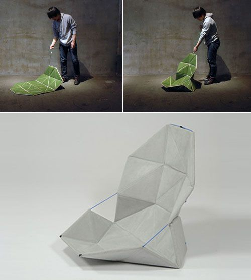 Japanese designer hiroyuki morita has designed 'pata' an unconventional folding chair. when not a chair it appears like a floor mat and can be folded into a compact bundle. it becomes a seat the moment the connecting cord is pulled and tightened. the chair changes shape according to the sitter's act.