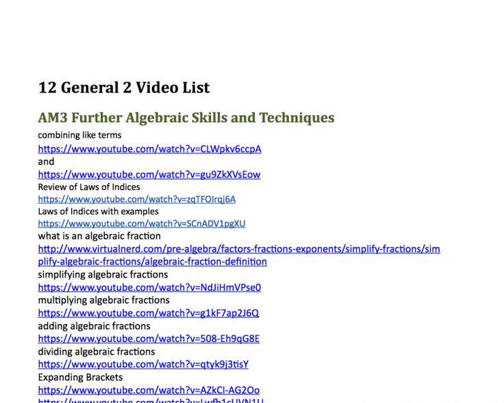 Year 12 HSC General 2 Maths Video List
