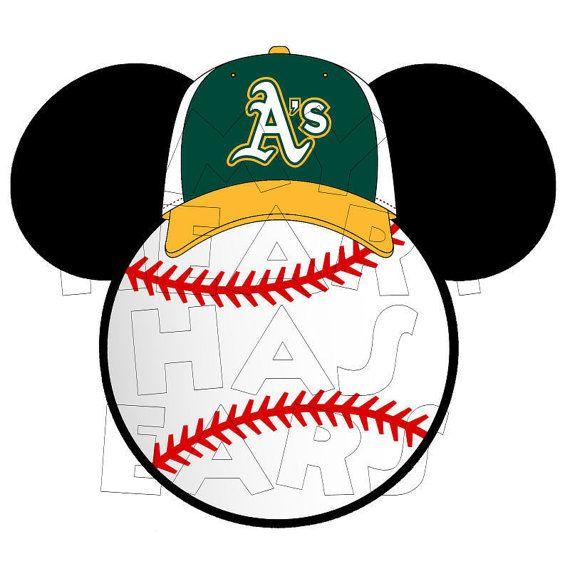 Printable DIY Baseball Oakland A's Mickey Mouse by MyHeartHasEars, $5.00