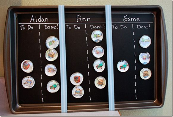 For those who have more than one kid, this chore chart is a great idea! Or you could do morning and evening chores/to-do's (like brush teeth, wash face, all those things kids never remember to do!)