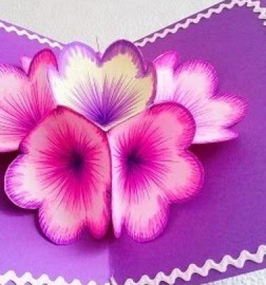 DIY 3D flower pop-up card -  mother's day gift // Szépséges térbeli tavaszi virágos pop-up képeslap papírból // Mindy - craft tutorial collection