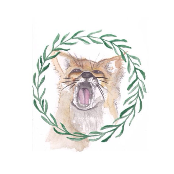 Fox in a Wreath Painting Print by ArtandAlexander on Etsy