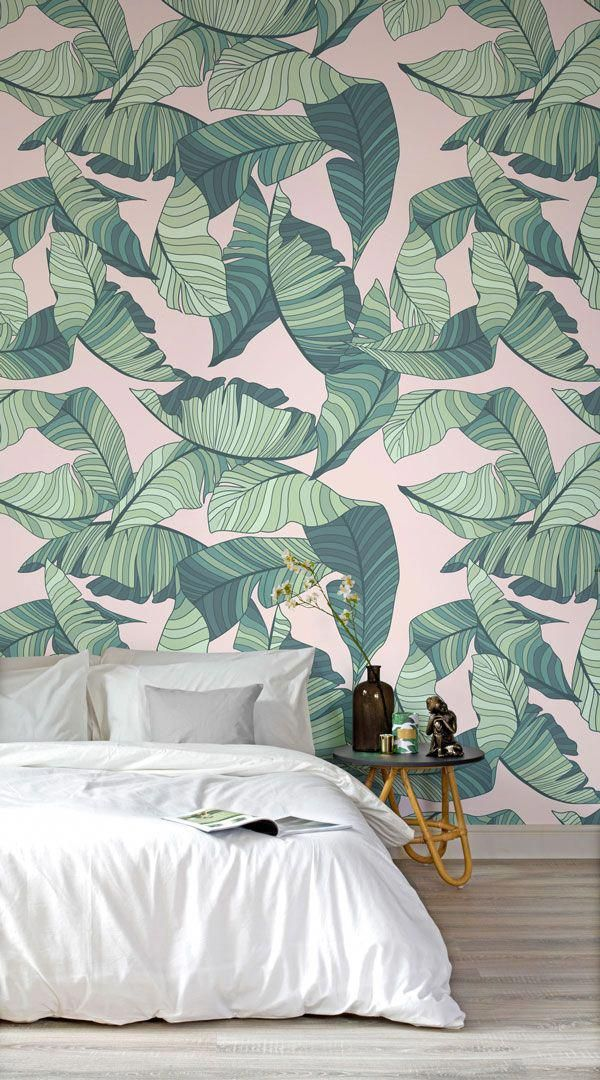 Pink And Green Tropical Leaf Wallpaper In 2018 Interior Design