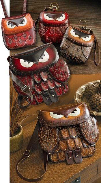 tooled leather owl purses