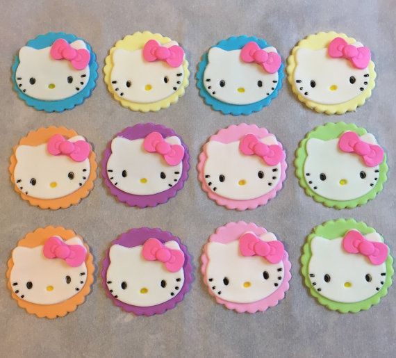12 Hello Kitty Fondant Cupcake Toppers