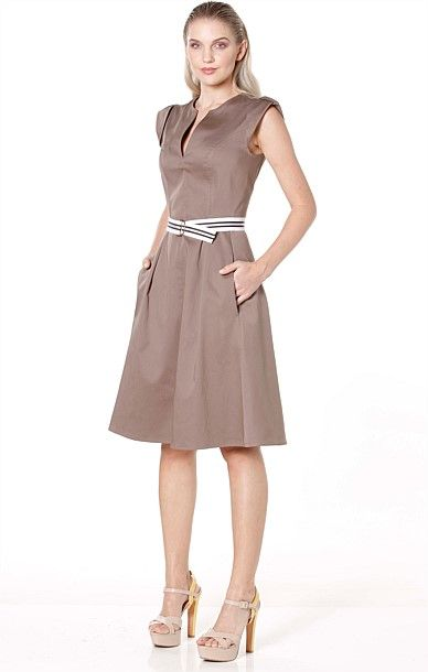 Occasion Dresses - YOU MAY BE RIGHT V-NECK CAP SLEEVE A-LINE COTTON DRESS IN COFFEE