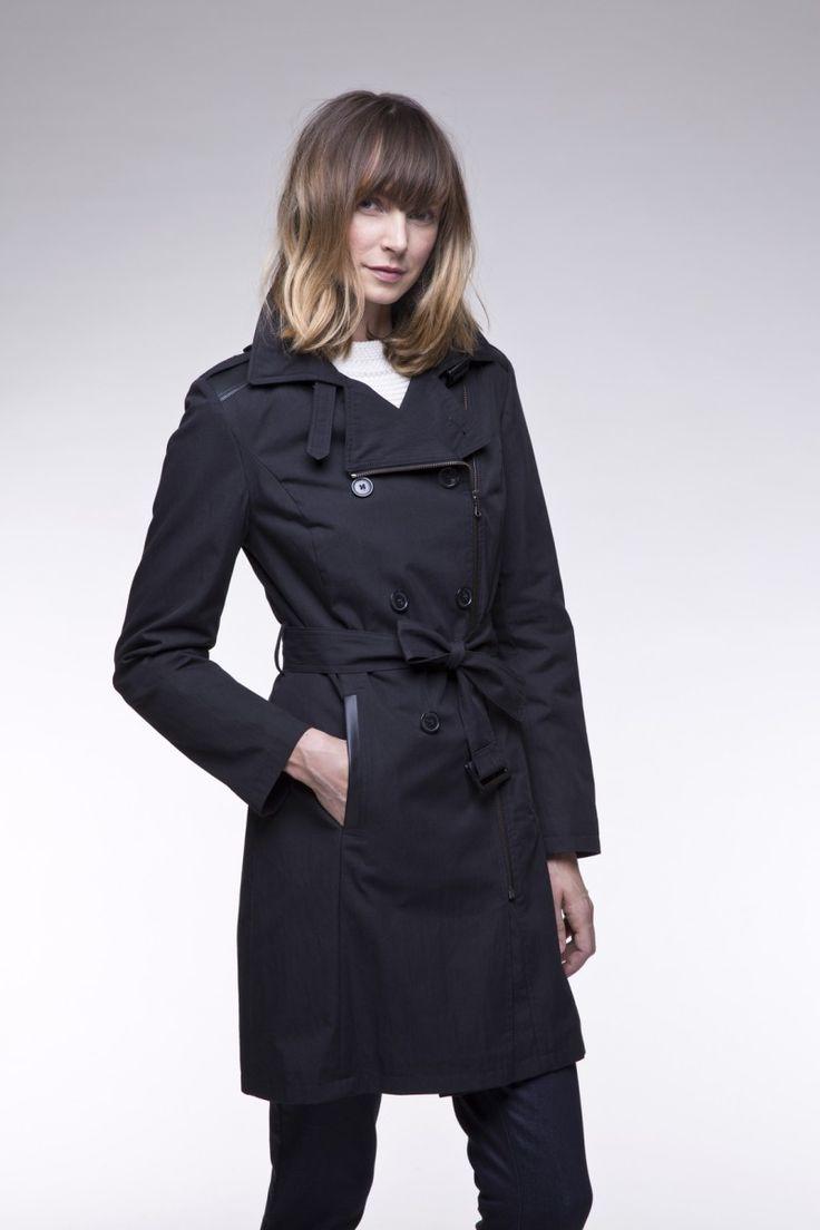 Le #Trench-coat noir #bi-matière #zippé. Parfait pour adopter un #look #rock #chic !