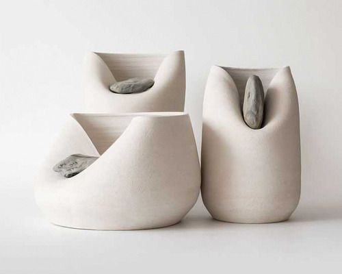 Minimalist Sculpture | Three Vessels with Natural …