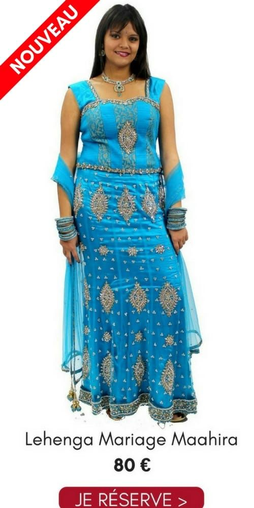 Location Lehenga Choli Mariage Maahira Bleu Clair 38 Pas Cher 80€ Narkis Fashion, contactez au 06 61 05 36 39
