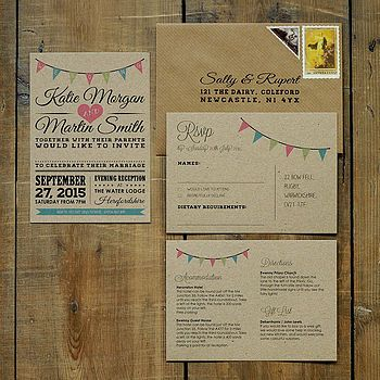 Vintage Bunting Kraft Wedding Invitation Suite