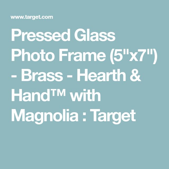 "Pressed Glass Photo Frame (5""x7"") - Brass - Hearth & Hand™ with Magnolia : Target"