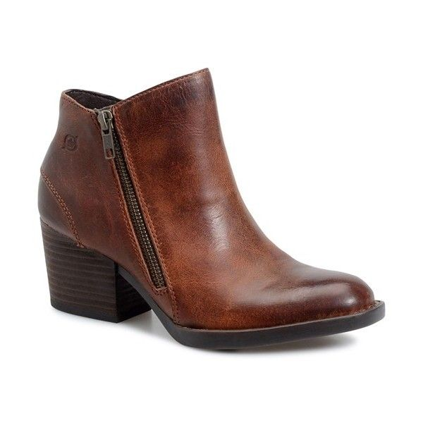 Women's B?rn 'Rowell' Block Heel Bootie (38.880 HUF) ❤ liked on Polyvore featuring shoes, boots, ankle booties, cognac leather, born boots, born booties, cognac leather boots, cognac booties and ankle boots