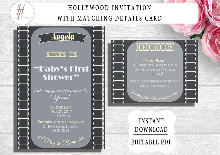Printable Hollywood Theme Party Invitation | Editable Template | Graduation | Baby Shower | Birthday | Bridal Shower | Movie Invitation by PaperColada on Etsy