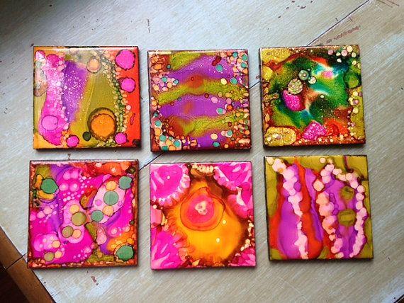 6 Vegas inspiré main peint carreaux sousverres par PamelaMakesStuff …