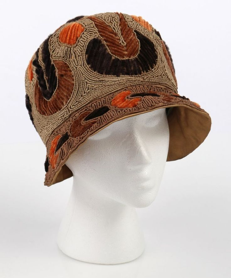 VTG 20s RICH ART MODELS BROWN TAN CHENILLE CORDED EMBROIDERED CLOCHE FLAPPER  HAT