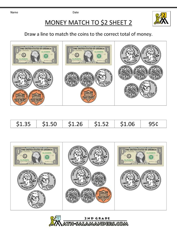 money worksheets for 2nd grade math money worksheets money match to 2 dollars 2 school 1. Black Bedroom Furniture Sets. Home Design Ideas