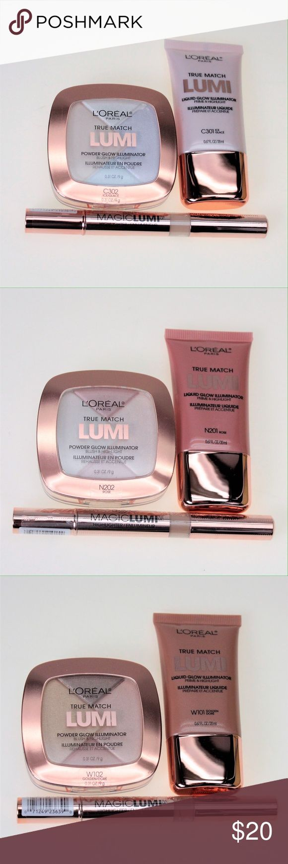 HOST PICK L'Oreal Lumi Face Set All sets are brand new and are still sealed as shown in the last photo.  Light Set: SOLD OUT Medium Set: Medium Magic Lumi Highlighter Stick, N201 Rose Liquid Glow Illuminator, N202 Rose Powder Glow Illuminator. Dark Set: Deep Magic Lumi Highlighter Stick, W101 Golden Liquid Glow Illuminator, W102 Golden Powder Glow Illuminator. L'Oreal Makeup Luminizer