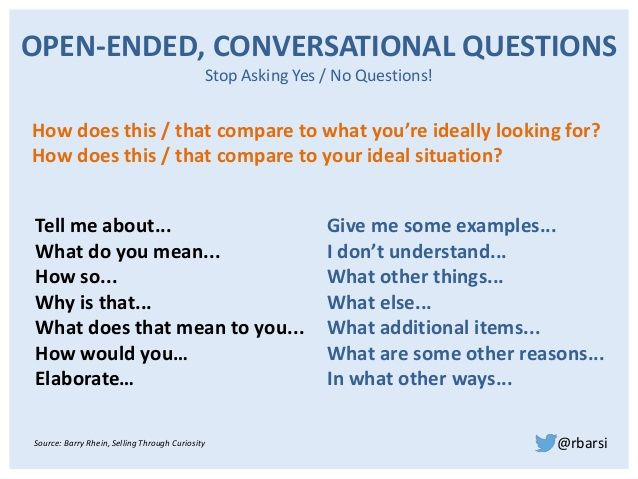 Open ended questions examples dating