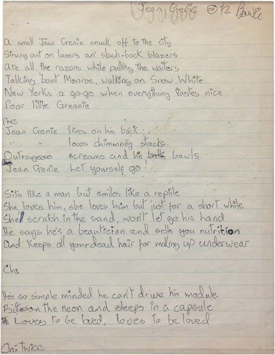 "Lyrics for ""Jean Genie"", dated 1972 and signed by David Bowie, in"