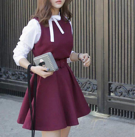 Купить товарOc06 весна мода женщин корейски сладкий красный шерстяные лоскутная плиссированные мини платье с бантом воротник стойка с поясом свободного покроя марка в категории Платьяна AliExpress.                Размер справки:                             Размер s: бюст: 86 см длина: 82 см                   Пл