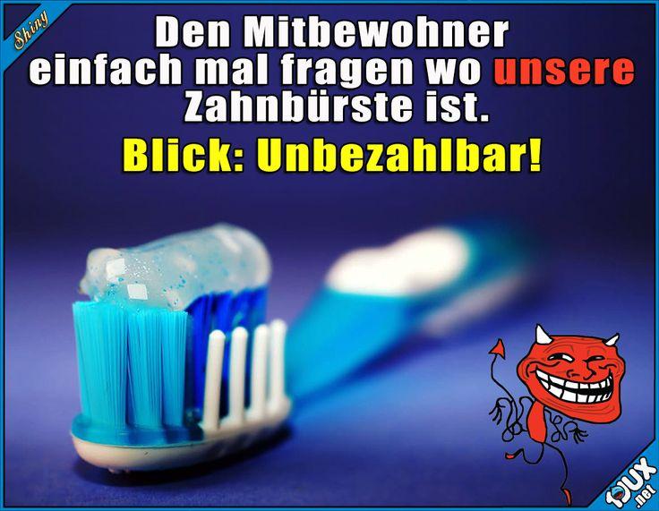 Wo ist unsere Zahnbürste? :P  Lustige Sprüche / Lustige Bilder #Humor #Sprüche #1jux #jux #lustig #Jodel #lustigeSprüche #lustigeBilder #Mitbewohner #Studentenleben #Studentlife #fies #reinlegen