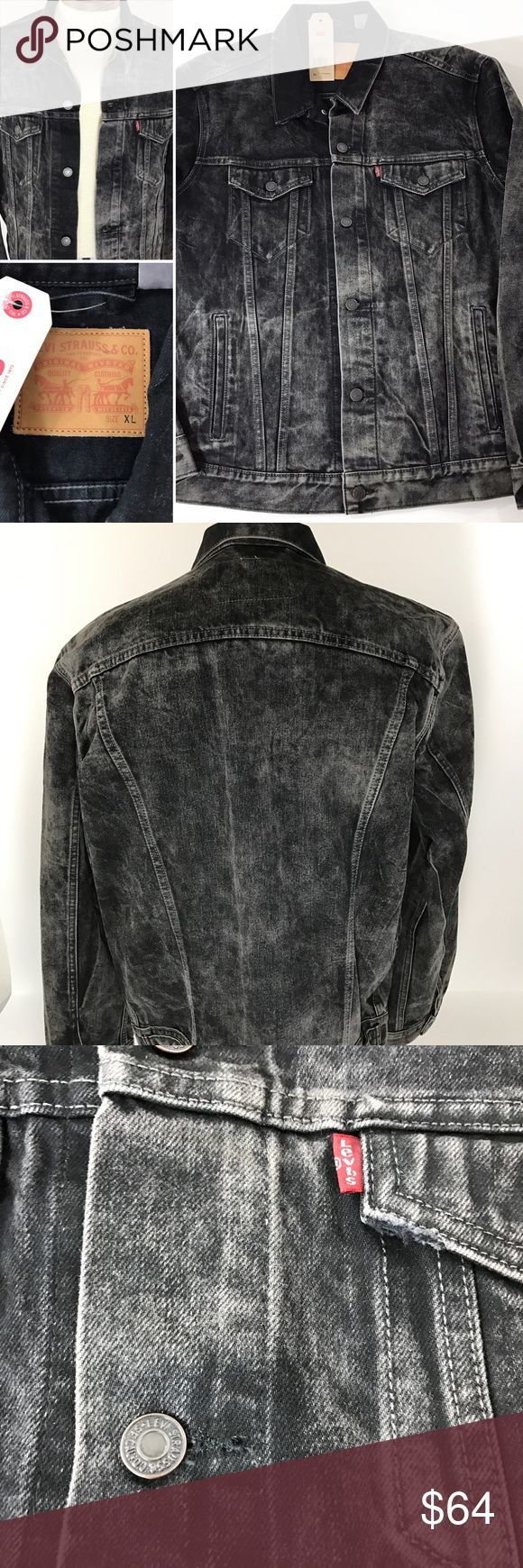 """Men's Levi NWT acid wash black Jean jacket XL Measurements Chest arm pit to arm pit 23"""" Length measured middle back from bottom collar seam to bottom 26.5"""" Levi's Jackets & Coats"""