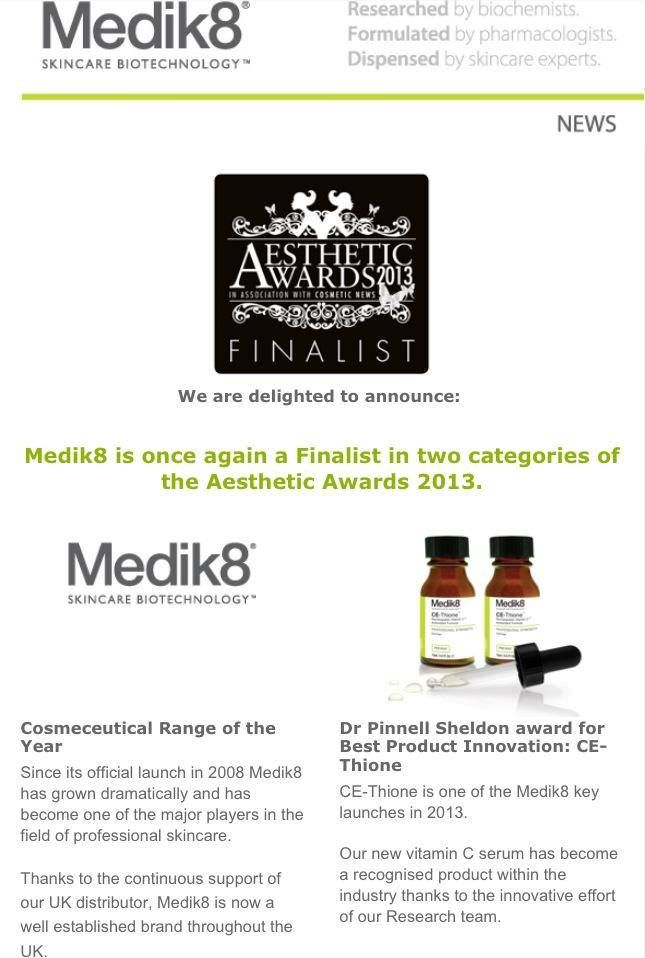 Medik8 is proud to be a finalist for two prestigious awards in the UK in 2013!