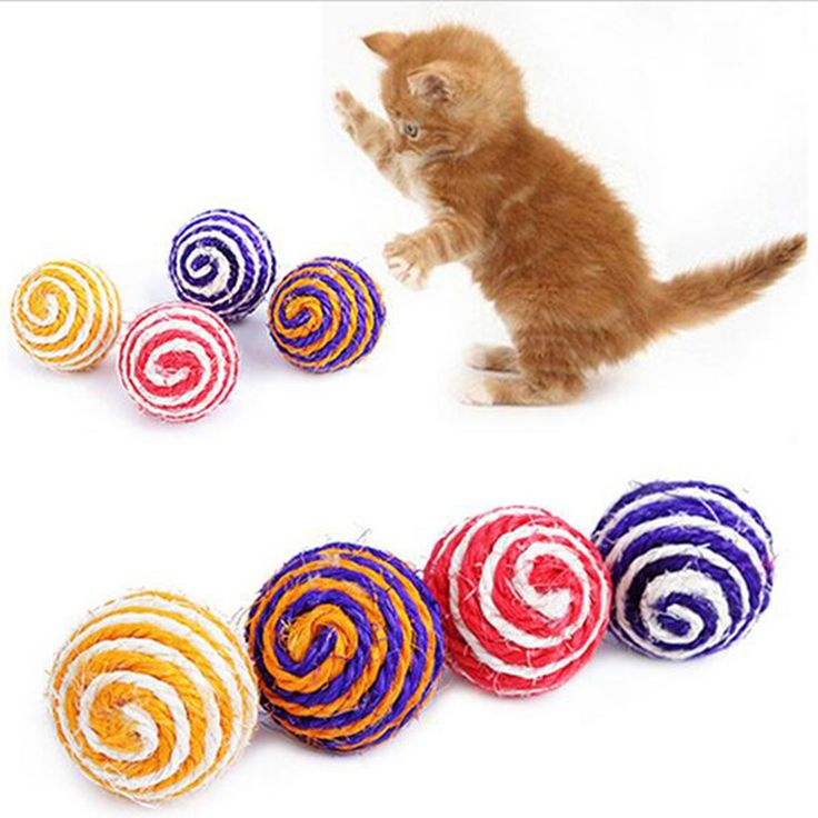Wholesale Cat Pet Sisal Rope Woven Ball Teaser Playing Chewing Rattle Scratch Catch Toy