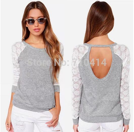NEW Women's Lace Splicing Top Backless Long Sleeve Cotton T Shirt Casual Blouse