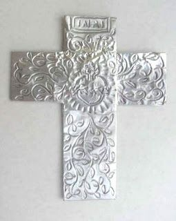 Foil Cross | Art class ideas: Use 3M Foil Tape & Ball Point Pen.
