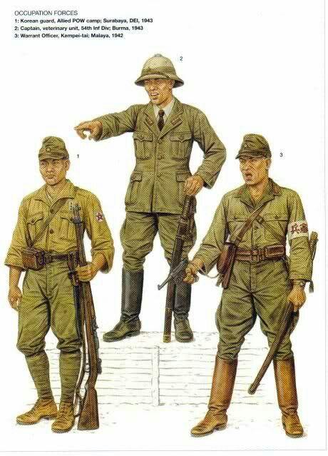 Esercito Imperiale Nipponico - Forze di occupazione - 1 Guardia Koreana, Campo POW alleati, Surubaya, DEI 1943 - 2 Capitano Unità Veterinaria, 54. Divisione Fanteria, Burma 1943 - 3 Warrant Officer, Kempei -tai, Malaya 1942.